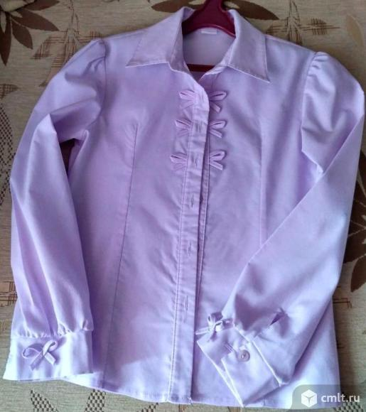 Светло-сиреневая блузка на девочку. Фото 1.