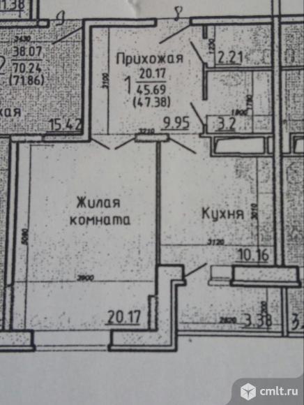 1-комнатная квартира 47,38 кв.м