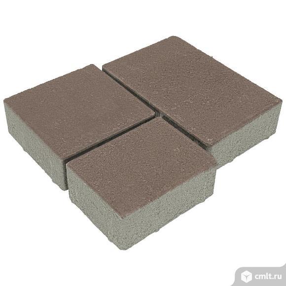 Плитка тротуарная вибропрессованная Европа, 3 формы, коричневый, 60мм, упаковка (12.88м2). Фото 1.