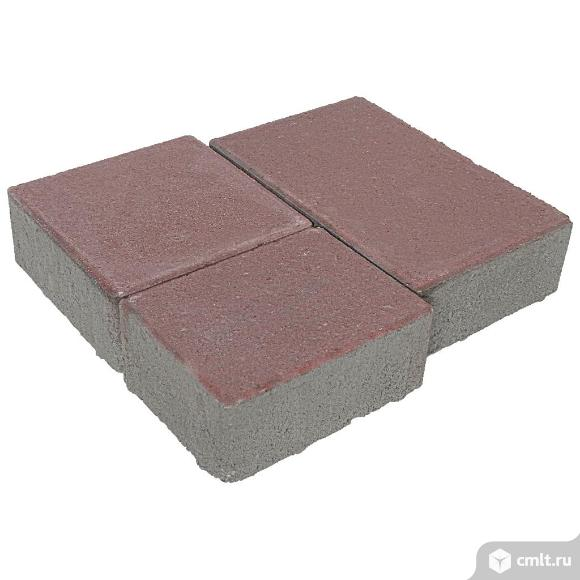 Плитка тротуарная вибропрессованная Европа, 3 формы, бурый антрацит колор-микс, 60мм, упаковка (12.. Фото 1.