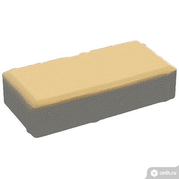 """Плитка тротуарная прессованная """"Брусчатка"""", желтый, 40х100х200мм, (19.44м2/972шт, упаковка)"""