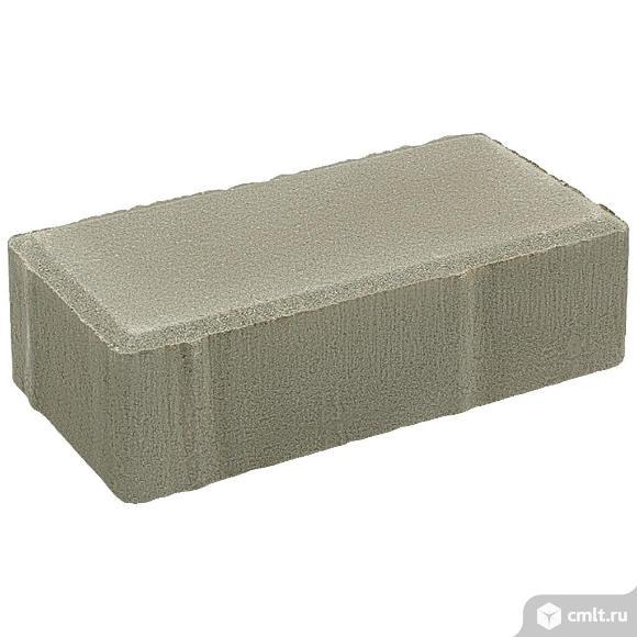 "Плитка тротуарная прессованная ""Брусчатка"" серый, 60х100х200мм, 12.96м2/648шт, упаковка. Фото 1."