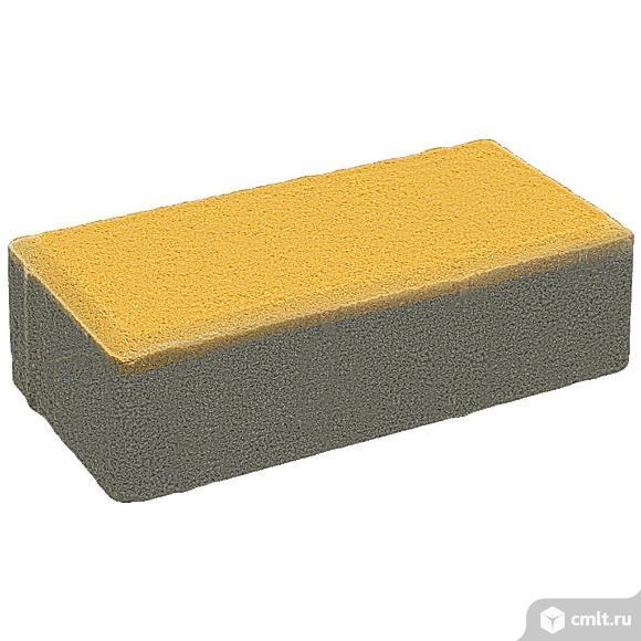"""Плитка тротуарная прессованная """"Брусчатка"""" желтый, 60х100х200мм, поштучно. Фото 1."""
