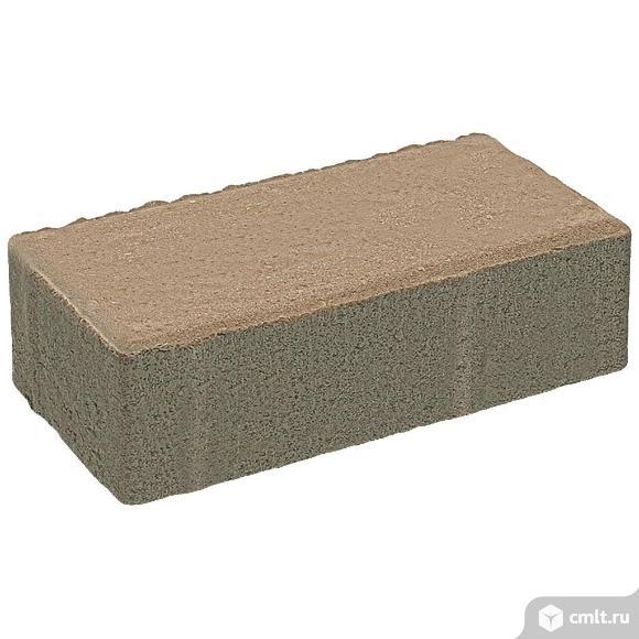 """Плитка тротуарная прессованная """"Брусчатка"""" коричневый, 60х100х200мм, (12.96м2/648шт, упаковка). Фото 1."""