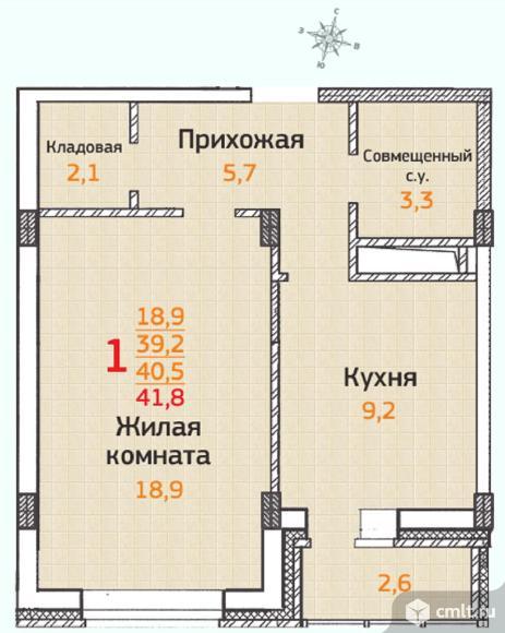 1-комнатная квартира 41,8 кв.м
