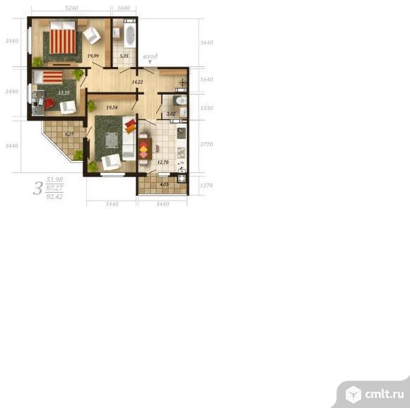 3-комнатная квартира 92,42 кв.м