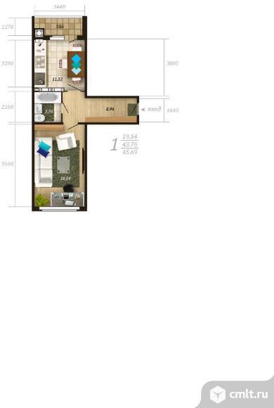 1-комнатная квартира 45,69 кв.м