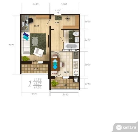 1-комнатная квартира 47,88 кв.м