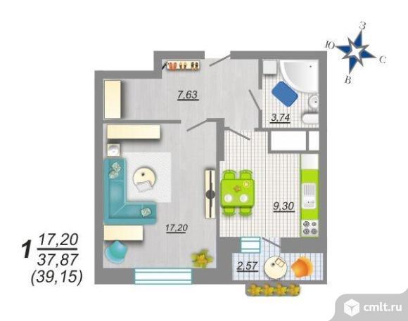 1-комнатная квартира 39,15 кв.м