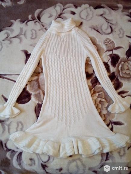 Нарядное белое платье тёплое. Фото 1.