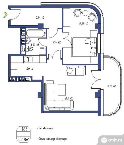 2-комнатная квартира 58,7 кв.м