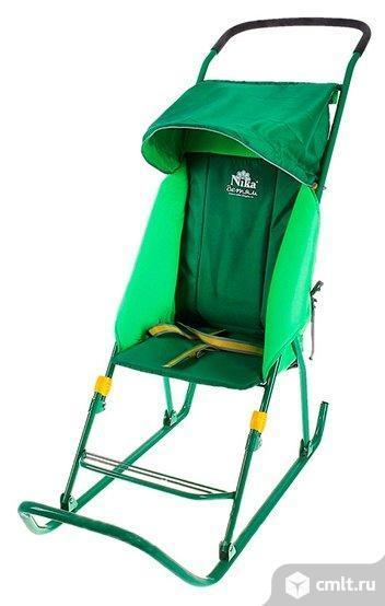 "Санки-коляска ""Тимка 1"", цвет зеленый. Фото 1."