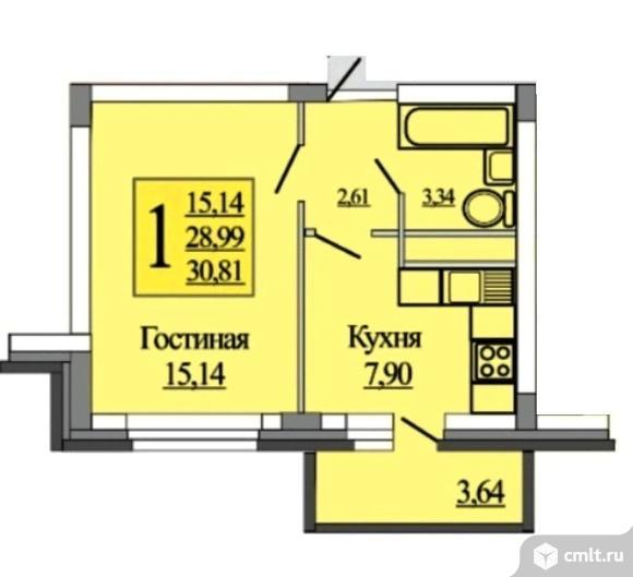 1-комнатная квартира 30,81 кв.м