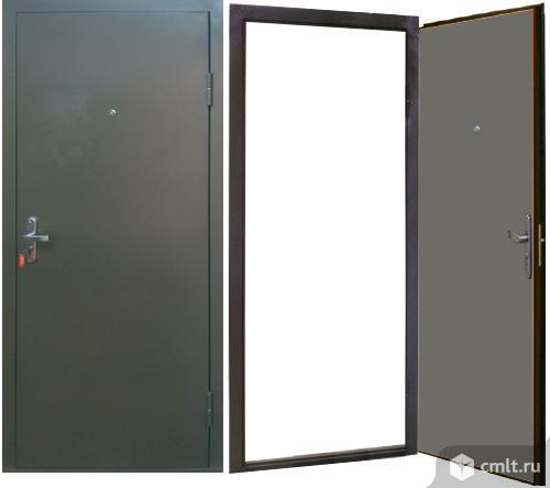 Дверь 207х96 см металл., 2 листа металла, утеплена, 1 замок