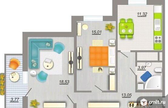 2-комнатная квартира 62,4 кв.м