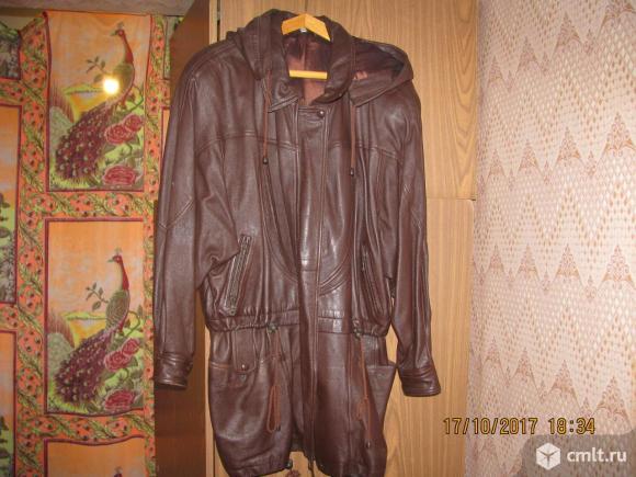 Куртка кожаная женская, р. 46-48, б/у, цв. коричневый