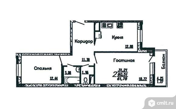 2-комнатная квартира 61,78 кв.м