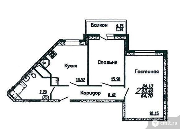 2-комнатная квартира 64,7 кв.м