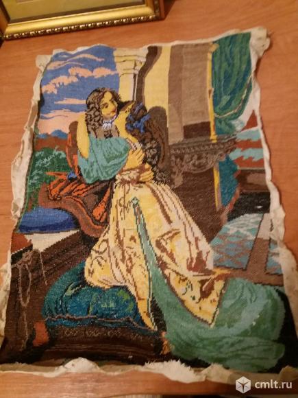"""Старинная вышивка выполненная крестиком на х/б ткани 31?46 """"влюбленные"""""""