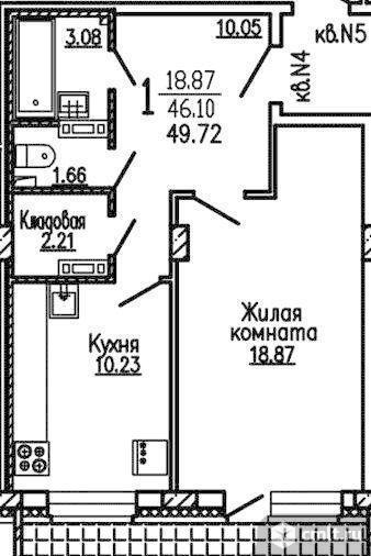 1-комнатная квартира 49,7 кв.м