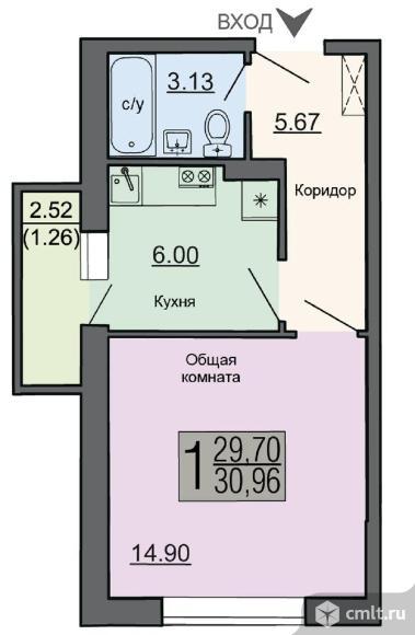 1-комнатная квартира 30,96 кв.м