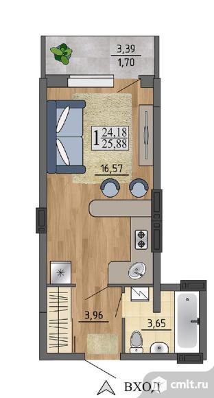1-комнатная квартира 25,88 кв.м