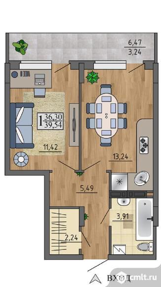 1-комнатная квартира 39,54 кв.м