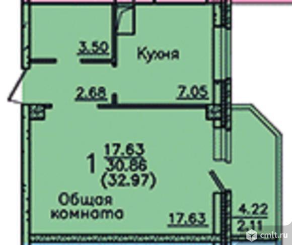1-комнатная квартира 32,87 кв.м