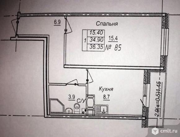 Продам 1-комн. квартиру 36.35 кв.м