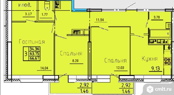 3-комнатная квартира 66 кв.м