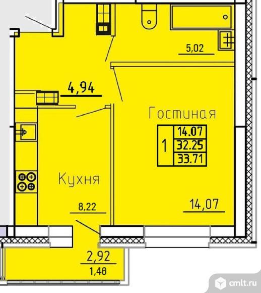 1-комнатная квартира 33,71 кв.м