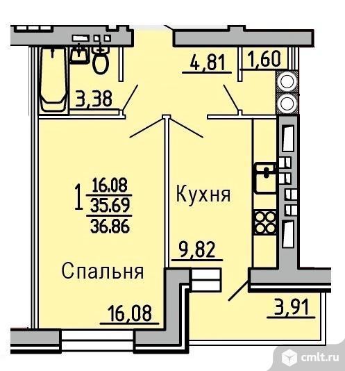 1-комнатная квартира 36,86 кв.м