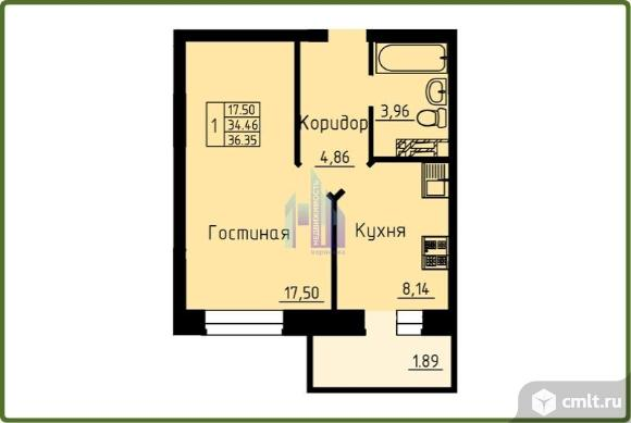 1-комнатная квартира 36,35 кв.м