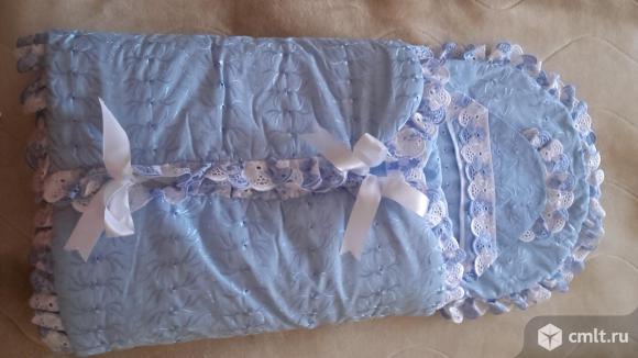 Конверт на выписку из роддома для мальчика, цв. голубой