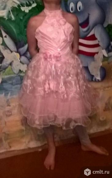 Платье для девочки 4-6 лет, нежно-розовое, шнуровка сзади
