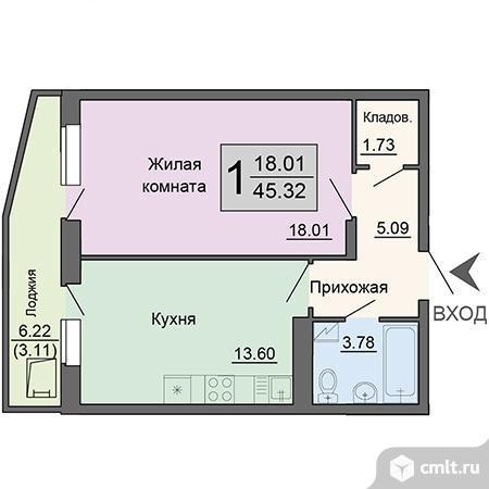 1-комнатная квартира 45,32 кв.м