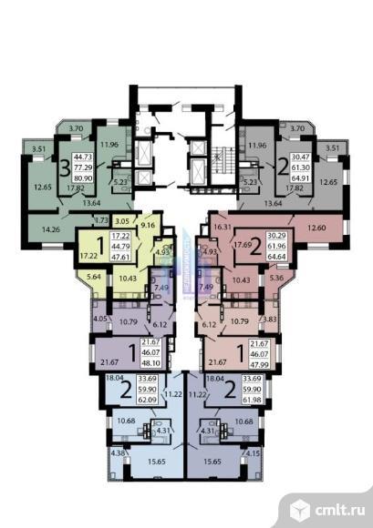 1-комнатная квартира 47,61 кв.м