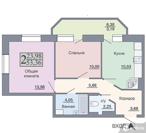 2-комнатная квартира 53,36 кв.м