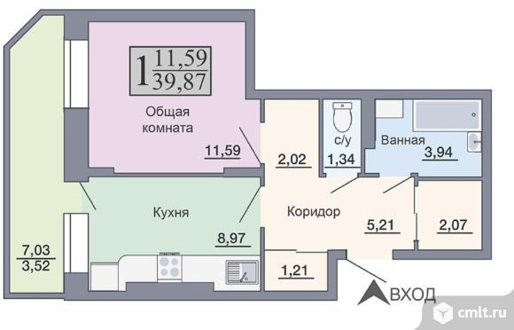 1-комнатная квартира 39,87 кв.м