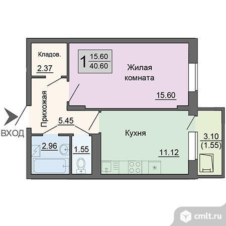 1-комнатная квартира 40,6 кв.м