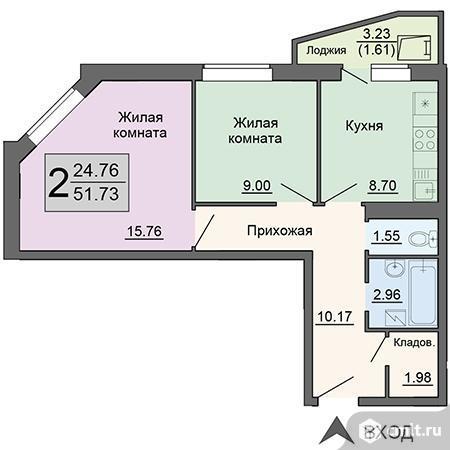 2-комнатная квартира 51,73 кв.м