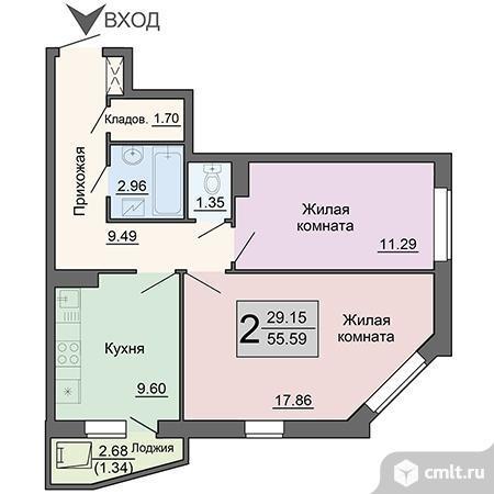 2-комнатная квартира 55,59 кв.м
