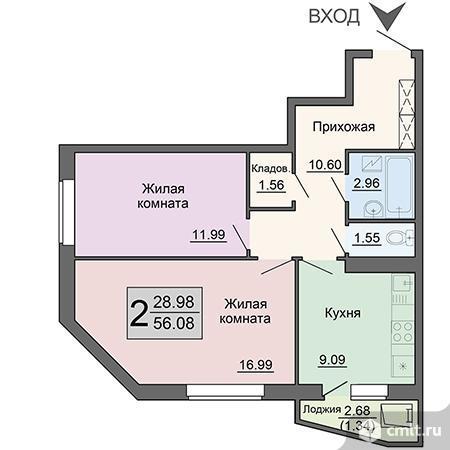 2-комнатная квартира 56,08 кв.м