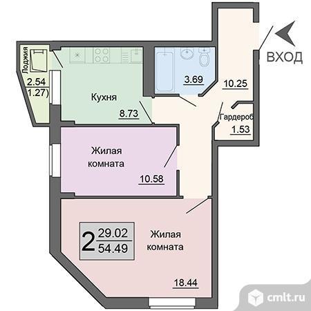 2-комнатная квартира 54,49 кв.м