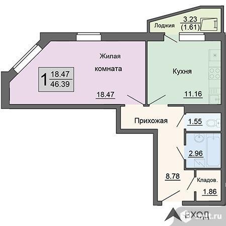 1-комнатная квартира 46,39 кв.м