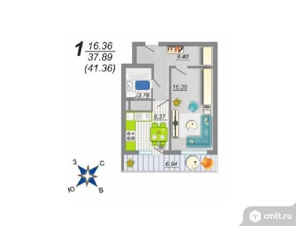 1-комнатная квартира 41,36 кв.м