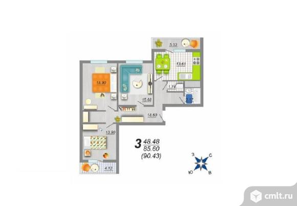 3-комнатная квартира 90,43 кв.м