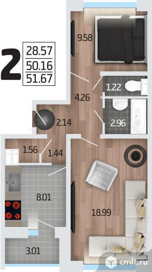 2-комнатная квартира 52 кв.м