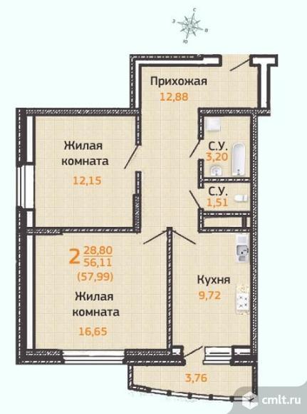 Продаю 2-комн. квартиру 61.26 кв.м