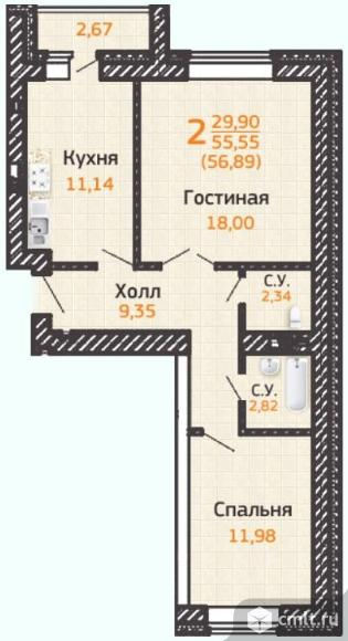 Продаю 2-комн. квартиру 59.77 кв.м